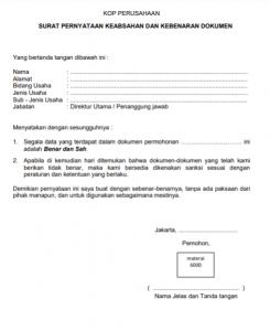 Surat Pernyataan Keabsahan dan Kebenaran Dokumen